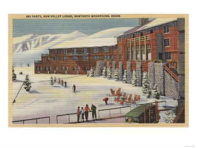Sun Valley, ID - Ski Party at Lodge Sawtooth Mountains-Lantern Press-Art Print