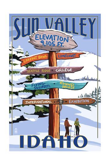 Sun Valley, Idaho - Destination Signpost (Winter)-Lantern Press-Art Print