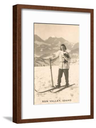 Sun Valley, Idaho, Girl Skiing with Cat