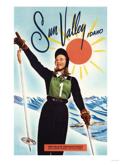 Sun Valley, Idaho - Gretchen Fraser Advertisement Poster-Lantern Press-Art Print