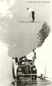 Sun Valley, Idaho, Ski Jumper Over Car