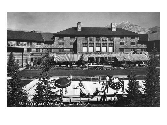 Sun Valley, Idaho - View of Lodge and Ice Rink-Lantern Press-Art Print