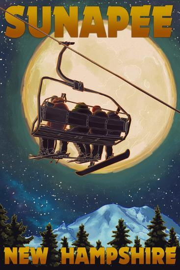 Sunapee, New Hampshire - Ski Lift and Full Moon-Lantern Press-Art Print