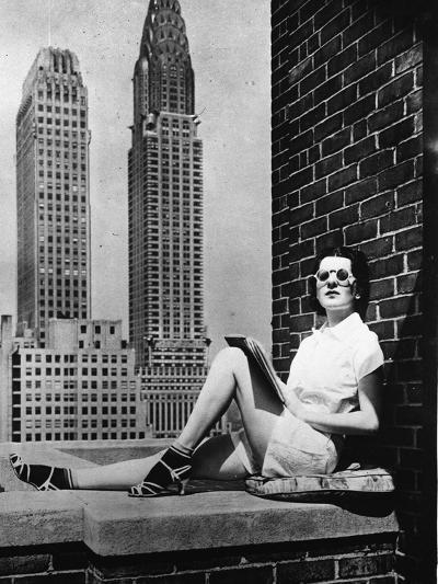 Sunbathing in a Highrise in New York--Photographic Print