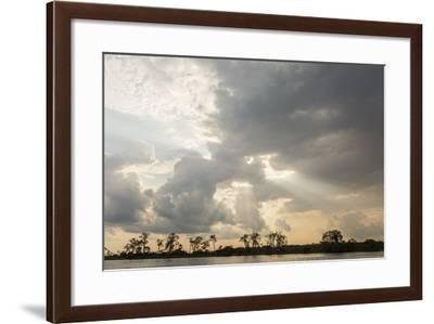 Sunburst through clouds on the Pacaya River, Upper Amazon River Basin, Loreto, Peru, South America-Michael Nolan-Framed Photographic Print