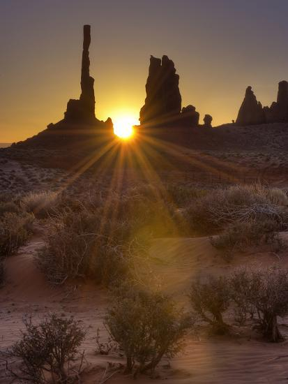 Sunburst Through the Totem Pole Formation in Monument Valley, Utah-Stocktrek Images-Photographic Print