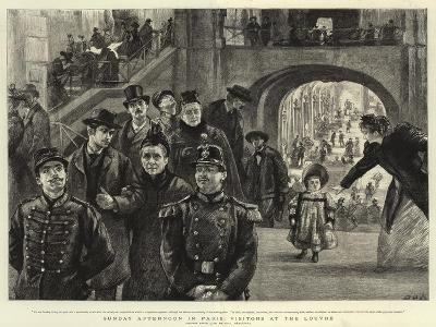 Sunday Afternoon in Paris, Visitors at the Louvre-Charles Paul Renouard-Giclee Print