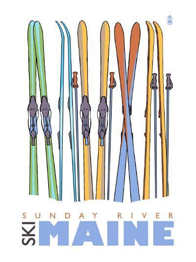 Sunday River, Maine, Skis in the Snow-Lantern Press-Art Print