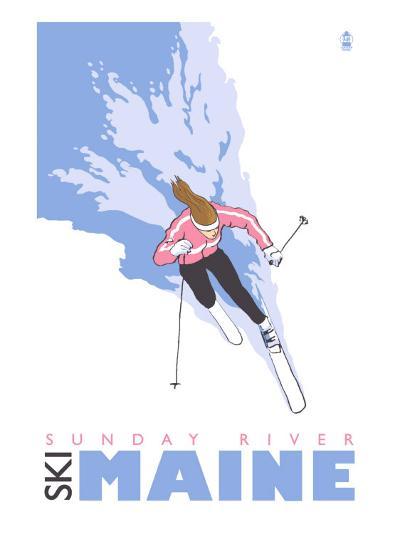Sunday River, Maine, Stylized Skier-Lantern Press-Art Print