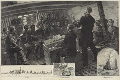 Sunday Service in the North Sea Fishing Fleet, the Thames Church Mission--Giclee Print