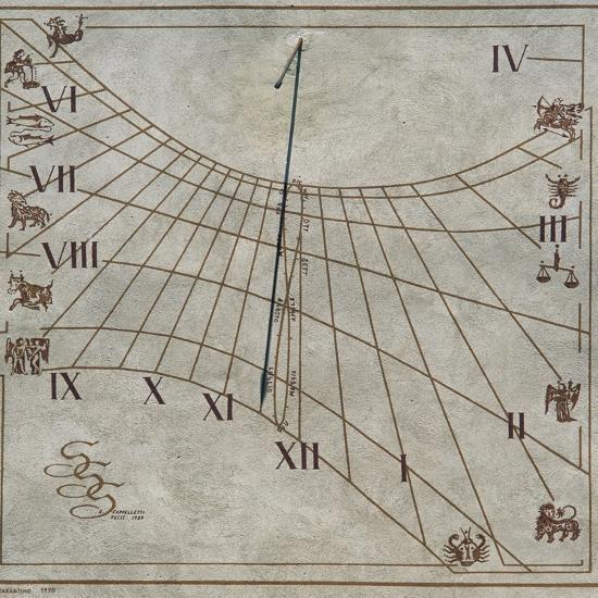 Sundial on Wall of House in Contignano, Val D'Orcia, Tuscany, Italy--Giclee Print