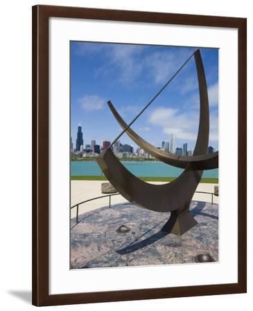 Sundial Sculpture at the Adler Planetarium Sundial and City Skyline, Chicago, Illinois, USA-Amanda Hall-Framed Photographic Print