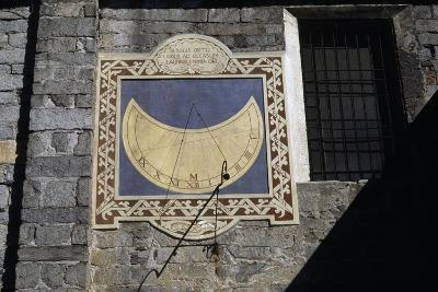 Sundial, Southern Facade of Church of Sant'Ambrogio, Omegna, Piedmont, Italy--Giclee Print