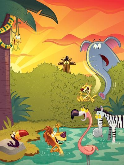 Sundown at the Water Hole - Jack & Jill-Gary LaCoste-Giclee Print