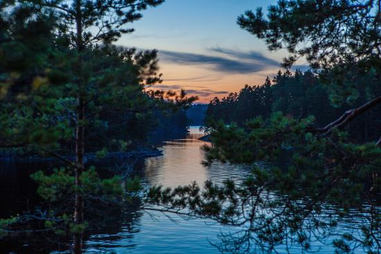Sundown, Stora Le Lake, Dalsland, Götaland, Sweden-Andrea Lang-Photographic Print