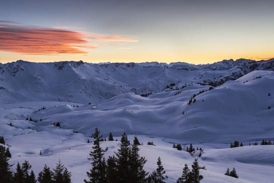 Sundown, Sunser Alp, Valley, Snow-Jurgen Ulmer-Photographic Print