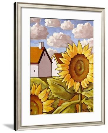 Sunflower & Cottages Scenic View-Cathy Horvath-Buchanan-Framed Giclee Print