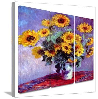 Sunflowers 3 piece gallery-wrapped canvas-Claude Monet-Gallery Wrapped Canvas Set