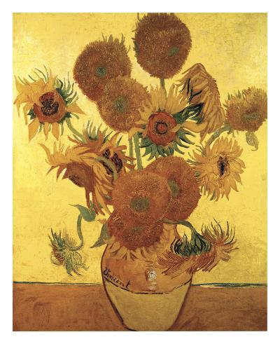 Sunflowers on Gold, 1888-Vincent van Gogh-Art Print