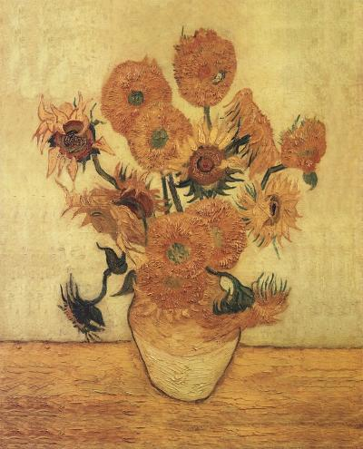 Sunflowers On Gold-Vincent van Gogh-Art Print