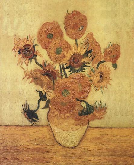 Sunflowers On Gold-Vincent van Gogh-Art Print