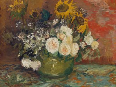 Sunflowers, Roses and Other Flowers in a Bowl, 1886-Vincent van Gogh-Giclee Print