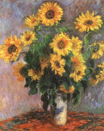 Sunflowers-Claude Monet-Framed Textured Art