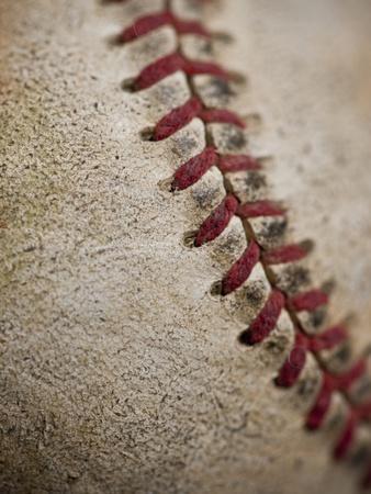 Close-up of worn baseball surface