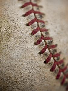 Close-up of worn baseball surface by Sung-Il Kim