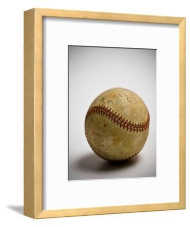 Close-up of worn baseball