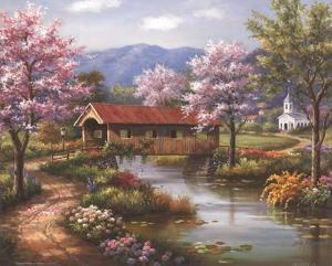 Covered Bridge in Spring by Sung Kim