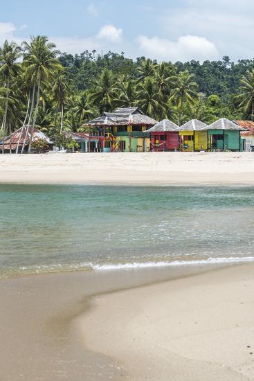 Sungai Pinang Beach and Rasta Beach Bungalows, Near Padang in West Sumatra, Indonesia-Matthew Williams-Ellis-Photographic Print