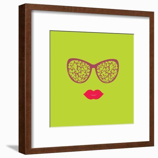 Sunglasses and Lips. Vector Illustration. Print for Your T-Shirts. Hipster Theme.-AnnaKukhmar-Framed Art Print