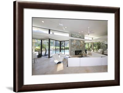 Sunken Seating Area and Exposed Stone Fireplace in Spacious Living Room with View-Nosnibor137-Framed Photographic Print