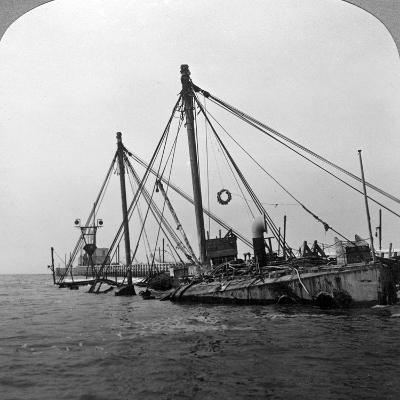 Sunken Warship HMS 'Vindictive, Ostend, Belgium, World War I, 1918--Photographic Print