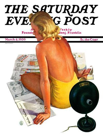 """Sunlamp,"" Saturday Evening Post Cover, March 4, 1939-Robert P. Archer-Giclee Print"