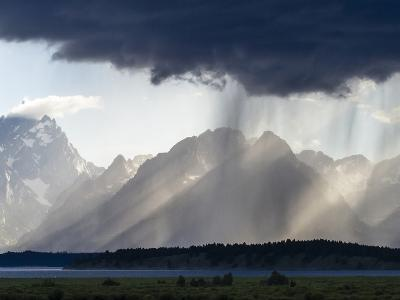 Sunlight and Rain over Tetons-Mike Cavaroc-Photographic Print