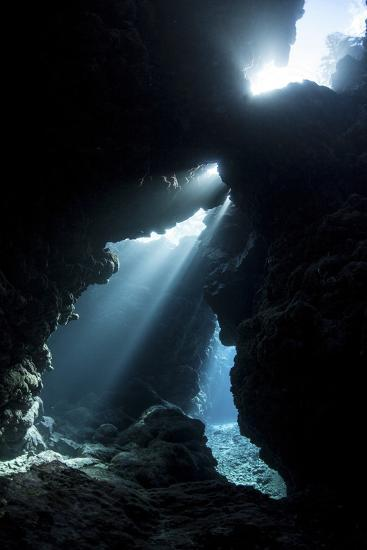 Sunlight Descends Underwater and into a Crevice in a Reef in the Solomon Islands-Stocktrek Images-Photographic Print