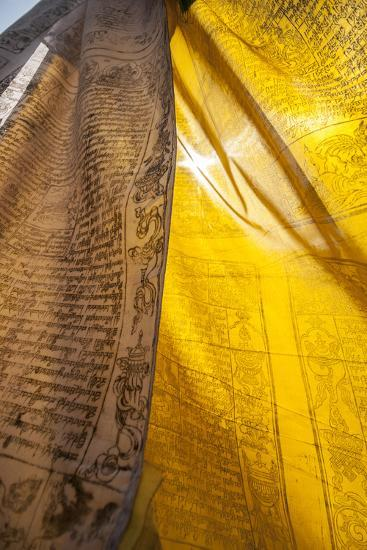 Sunlight Filters Through Prayer Flags-Max Lowe-Photographic Print
