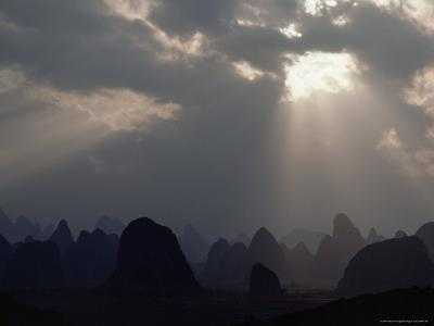 Sunlight Illuminates Limestone Peaks in a Karst Region near Guilin, Guangxi Province, China-James P^ Blair-Photographic Print