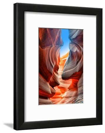 Sunlight Reflected off of the Red Rock Curves of the Antelope Canyon Slot Canyons in Page, Arizona.-lucky-photographer-Framed Photographic Print