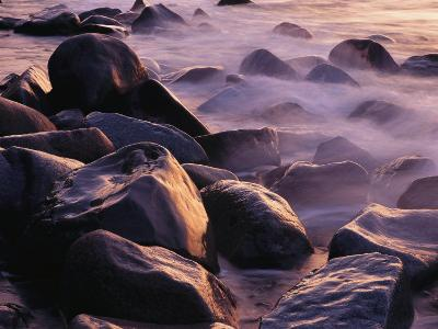 Sunlit Rocks in Surf and Spray, Jasmund National Park, Germany-Norbert Rosing-Photographic Print