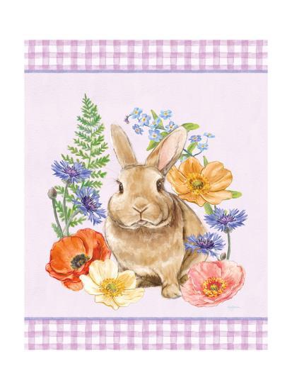 Sunny Bunny II Checker Border Purple-Mary Urban-Art Print
