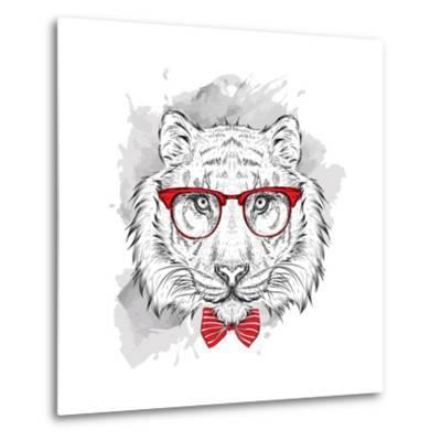 Image Portrait Tiger in the Cravat and with Glasses. Hand Draw Vector Illustration.