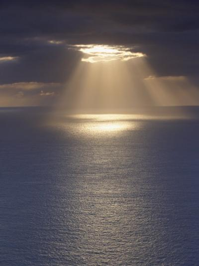 Sunrays over the Ocean, West Coast of Sandoy, Faroe Islands, Denmark, Europe-Patrick Dieudonne-Photographic Print
