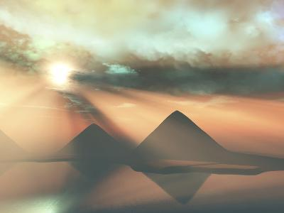 Sunrays Shine Down On Three Pyramids Along the Nile River On the Giza Plateau-Stocktrek Images-Photographic Print