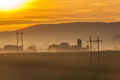 Sunrise and Fog over a Farm Along Pennsylvania Route 23 East of Lancaster, Pennsylvania-Richard Nowitz-Photographic Print