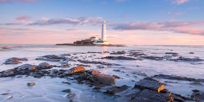 Sunrise and Sea over St Mary's Lighthouse, Whitley Bay, Tyne and Wear-Andy Redhead-Photographic Print