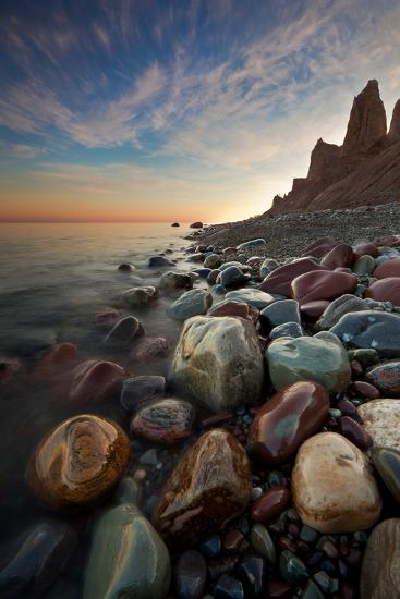 Sunrise at Chimney Bluffs-David Copley-Photographic Print