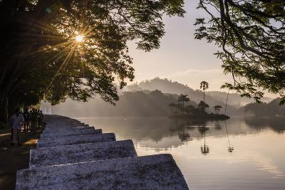 Sunrise at Kandy Lake and the Island Which Houses the Royal Summer House-Matthew Williams-Ellis-Photographic Print